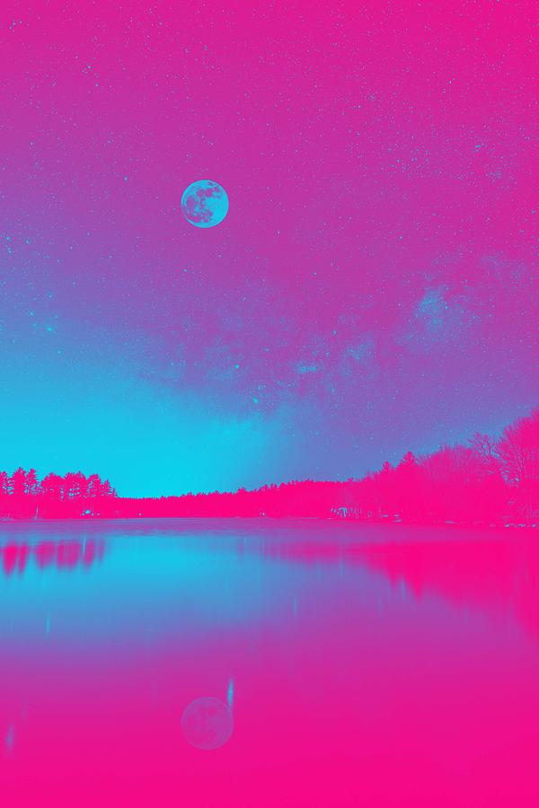 Majestic Night Sky Over A Lake, Ca. 2017 By Adam Asar, Asar Studios 2 Painting