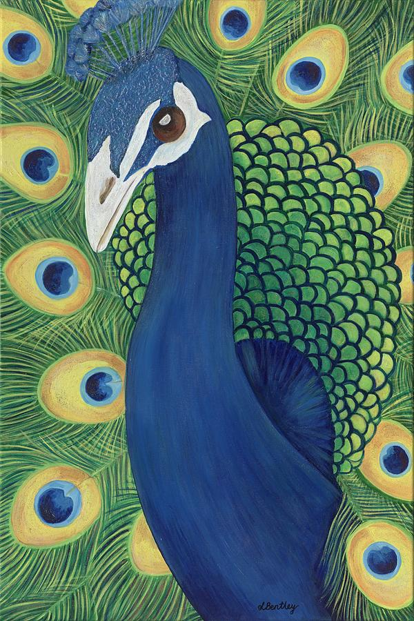 Blue Painting - Majestic Peacock by Lisa Bentley
