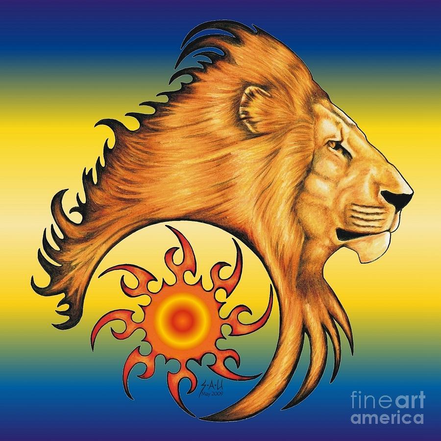 Lion Drawing - Majestic Soul by Sheryl Unwin