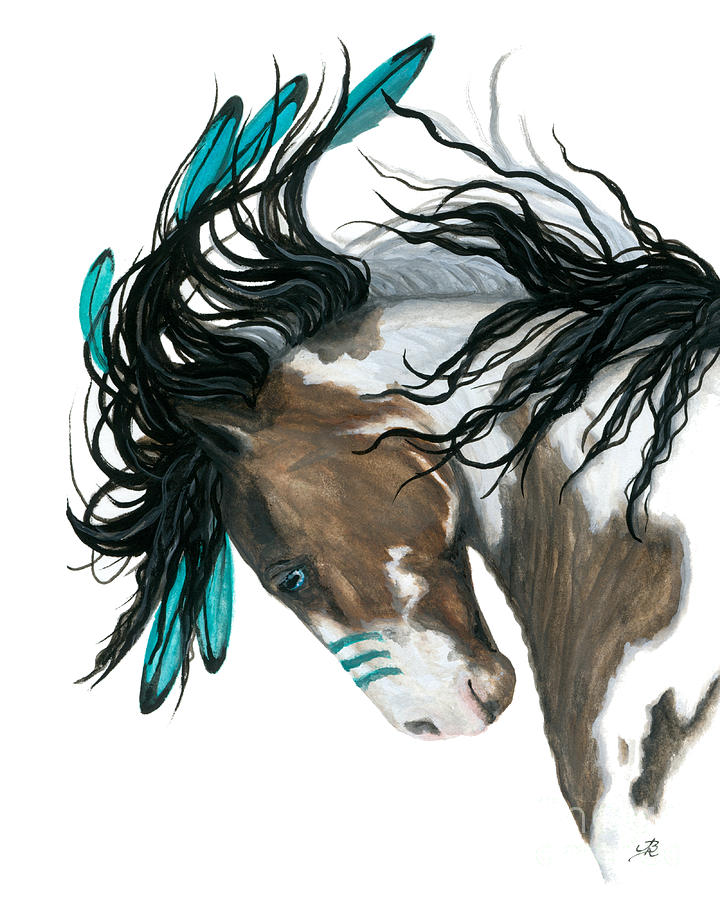 Turquoise Painting - Majestic Turquoise Horse by AmyLyn Bihrle