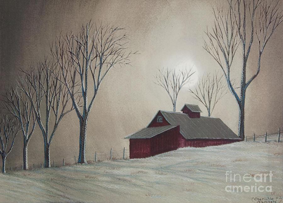 Barn Painting - Majestic Winter Night by Charlotte Blanchard