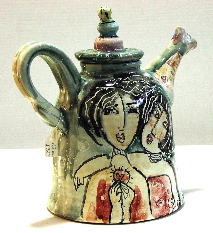 Low Fire Ceramic Pottery Ceramic Art - Majolica Tea Pot by Kathleen Raven