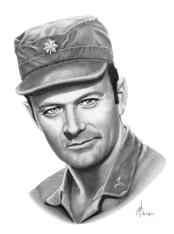 Pencil Drawing - Major Frank Burns by Murphy Elliott