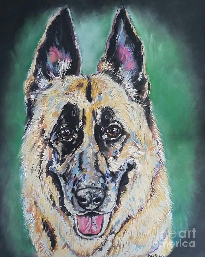 German Shepherd Painting - Major, The German Shepherd  by Arrin Burgand