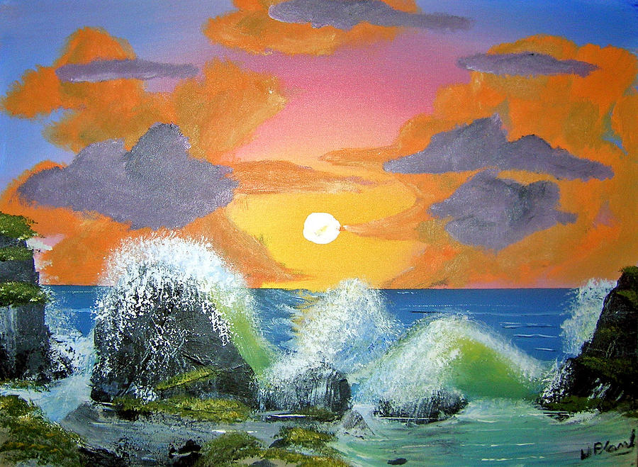 Seascape Painting - Makaha Breakers by William Plank