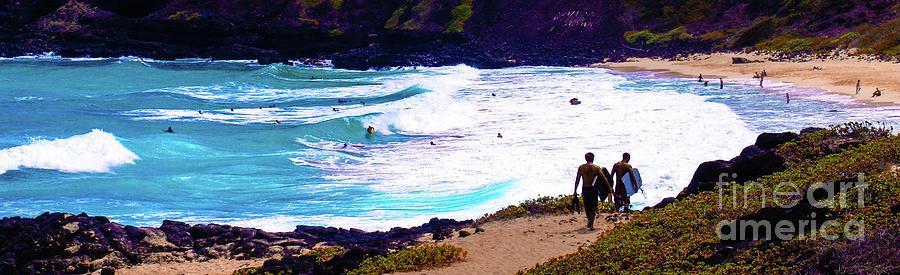 Beach Photograph - Panorama - Makapuu Beach Park, Oahu, Hawaii  by D Davila