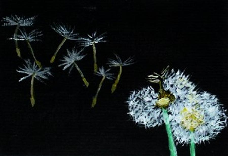 Dandelions Painting - Make A Wish by Leslye Miller