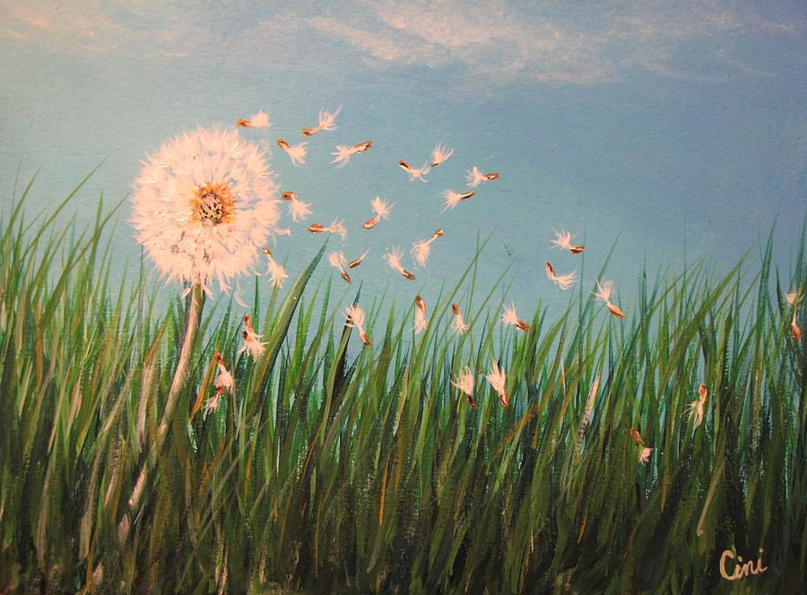Meadow Painting - Make A Wish by Lisa Cini