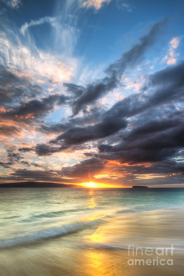 Hawaiian Sunset Photograph - Makena Beach Maui Hawaii Sunset by Dustin K Ryan