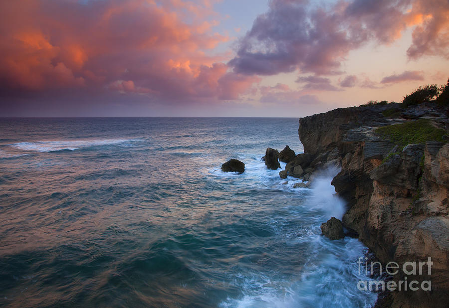 Cliffs Photograph - Makewehi Sunset by Mike  Dawson