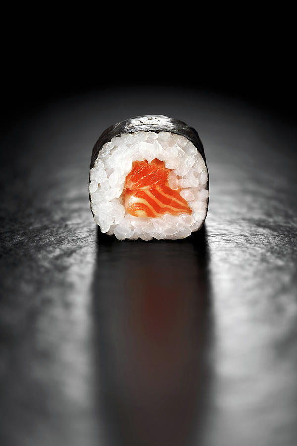 Sushi Photograph - Maki Sushi Roll With Salmon by Johan Swanepoel