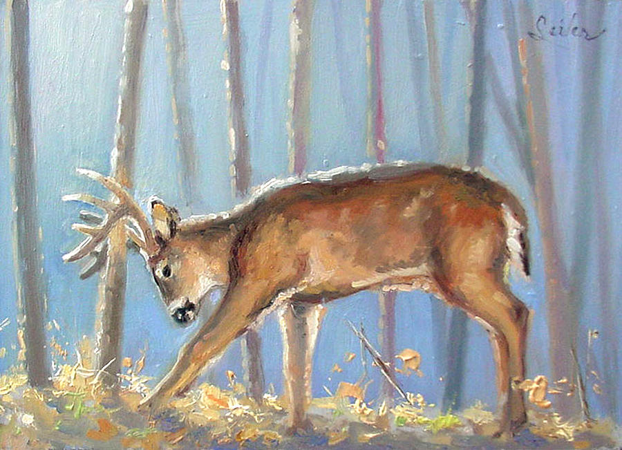 Wildlife Painting - Making A Statement- Whitetail by Larry Seiler