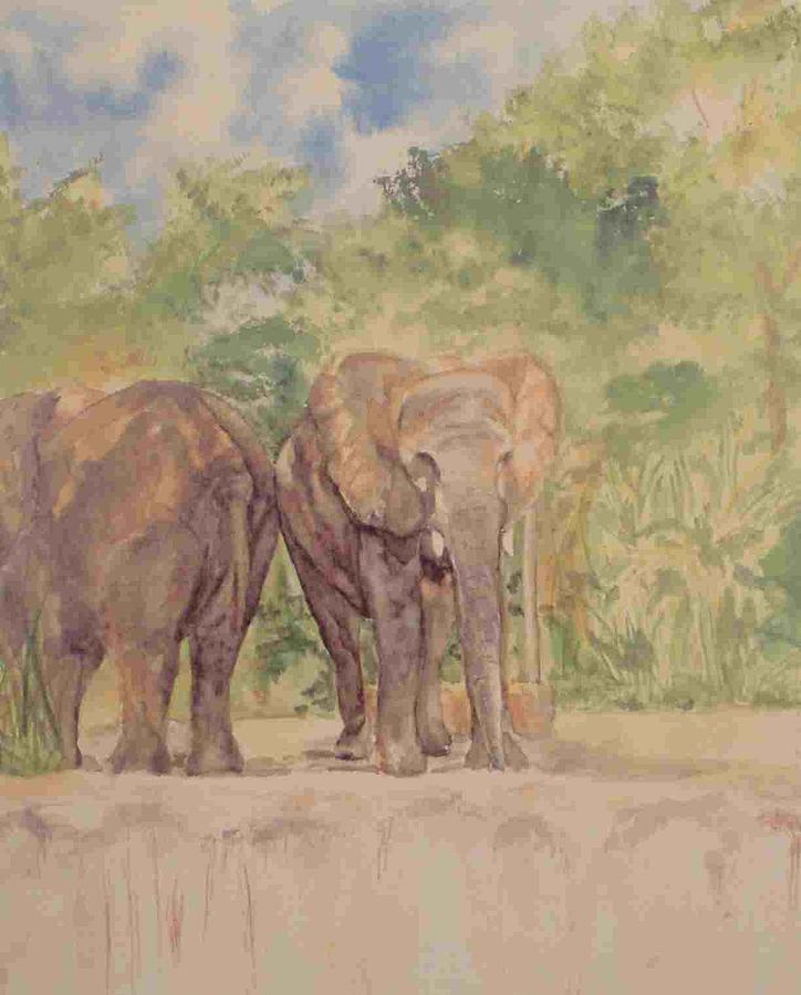 Elephants Painting - Making Ends Meet by Patricia Brown