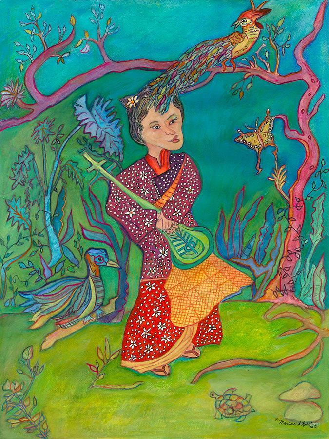 Fantasy Painting - Making Music by Marlene Robbins