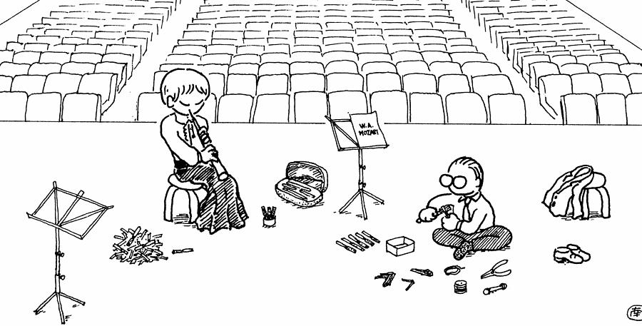 Oboe Drawing - Making Oboe Reeds On The Stage by Minami Daminami