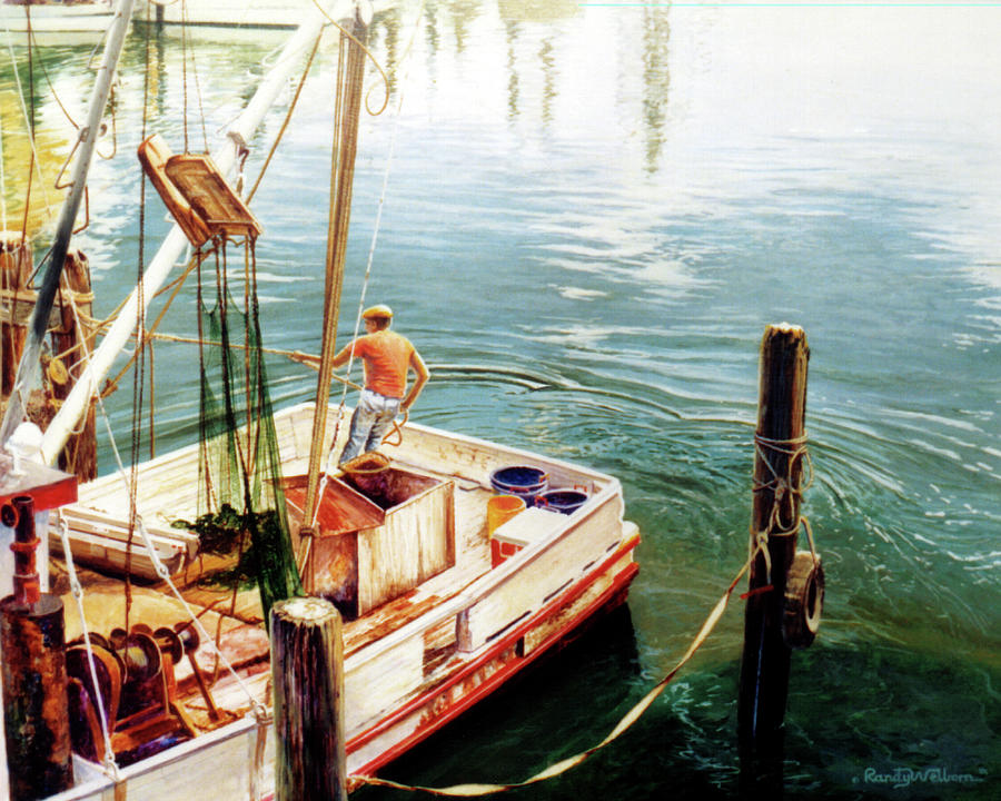 Fishing Painting - Making Ready by Randy Welborn