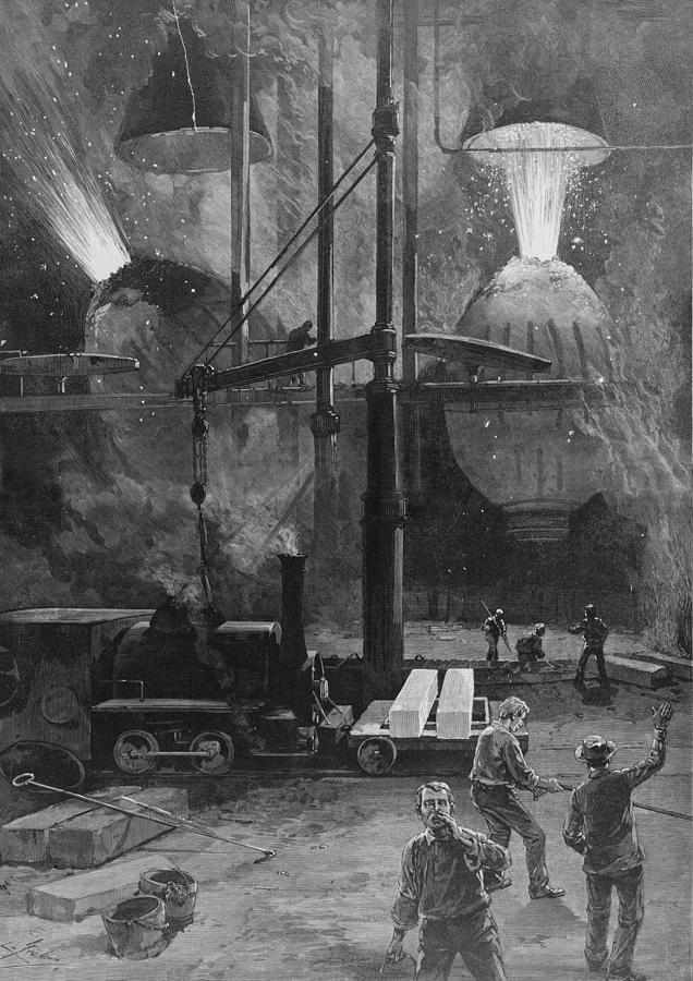 History Photograph - Making Steel With Bessemer Converters by Everett