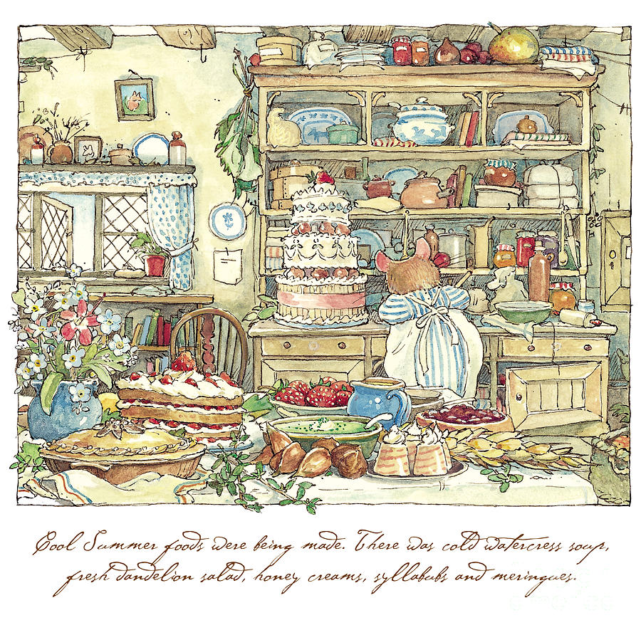 Brambly Hedge Drawing - Making The Wedding Cake by Brambly Hedge