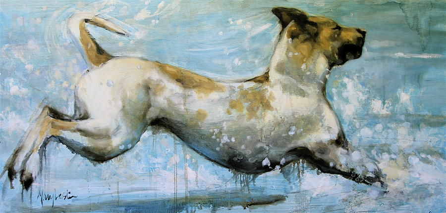 Dog In Water Painting - Making Waves by Mary Leslie