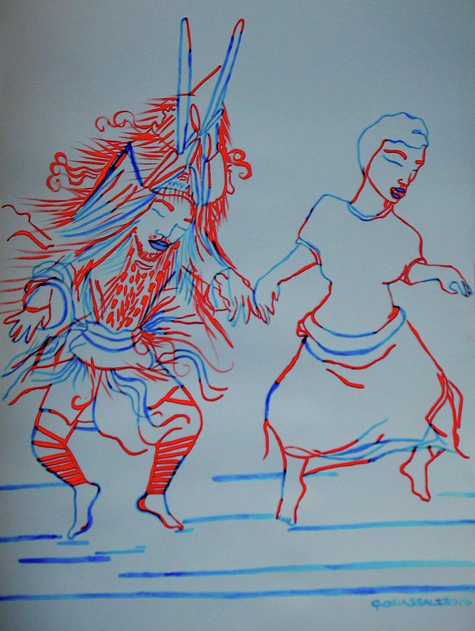 Makishi Traditional Dance Zambia Painting By Gloria Ssali