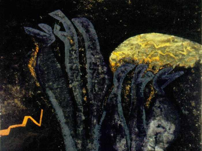 Malagasy Moon Painting by Leslie Cohen Jeffreys