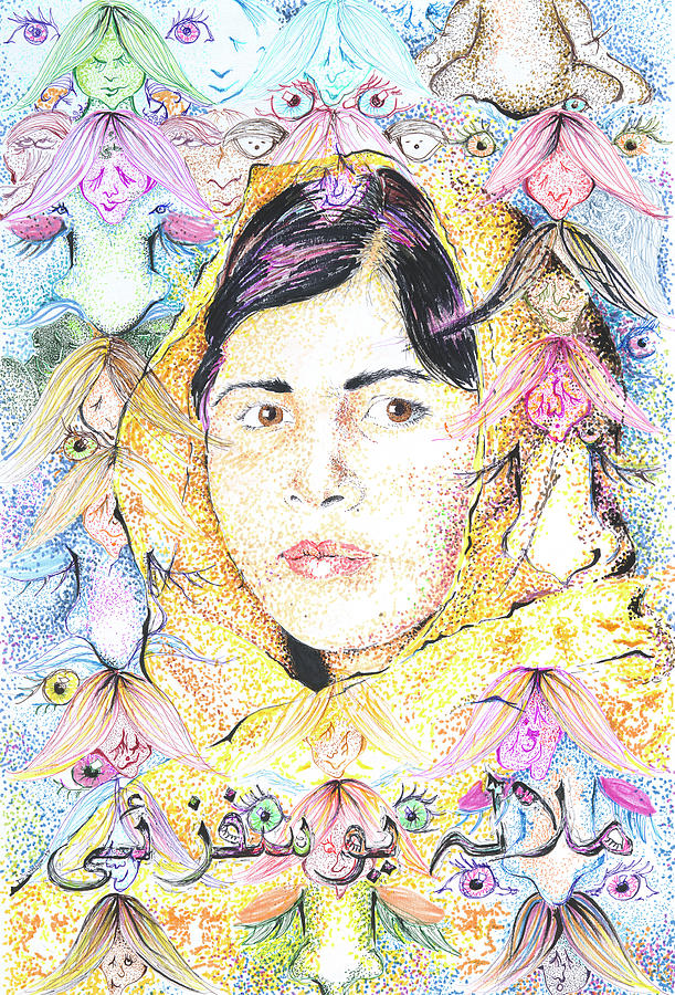 Malala Drawing - Malala-Dont Ignore Us-Sombra de Arreguin by Doug Johnson