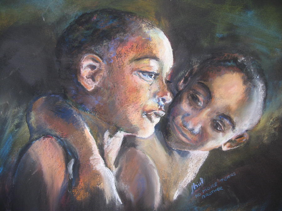 Portrait Painting - Malawian No More Tears Brother by Shirley Roma Charlton