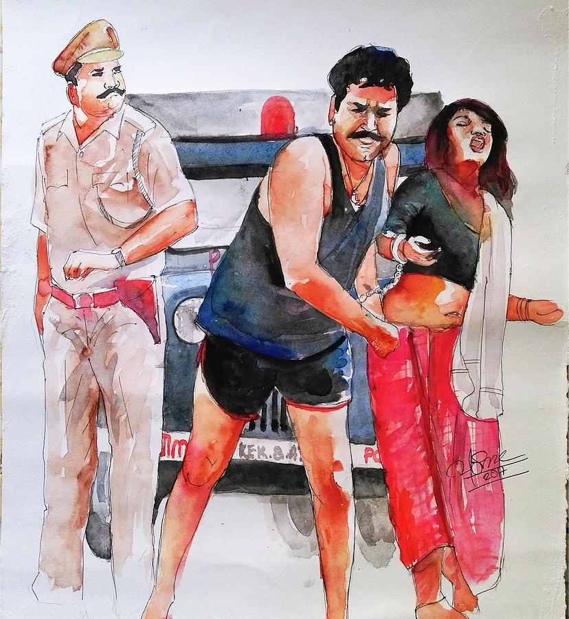 Malayalam Movie Spadikam Stills Painting By Vishnu Aranmula