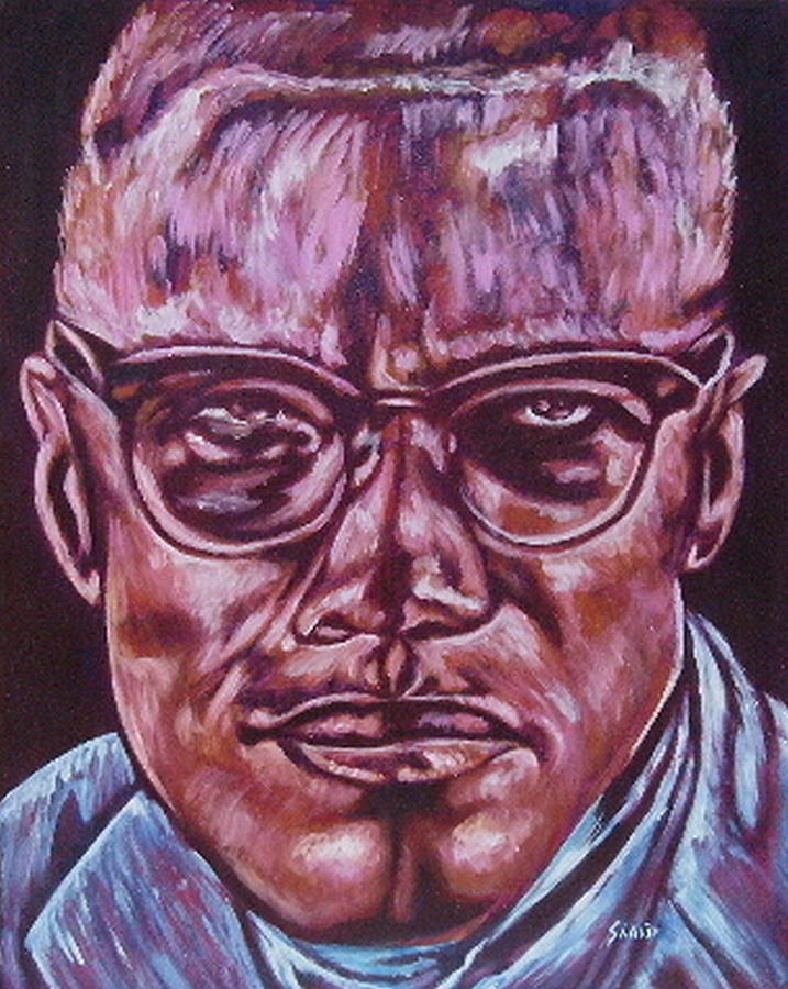 African Americam Painting - Malcolm by Shahid Muqaddim