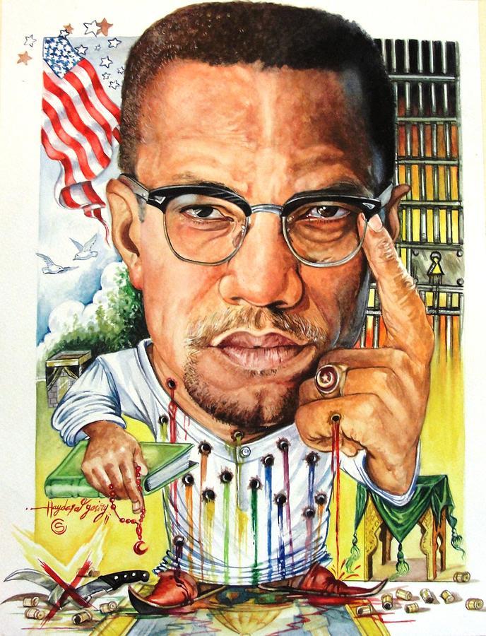 Malcolm X Painting by Haydar Al-yasiry