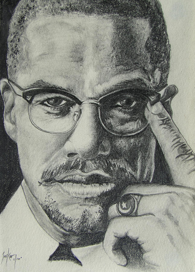 Malcolm X Drawing - Malcolm X by Stephen Sookoo