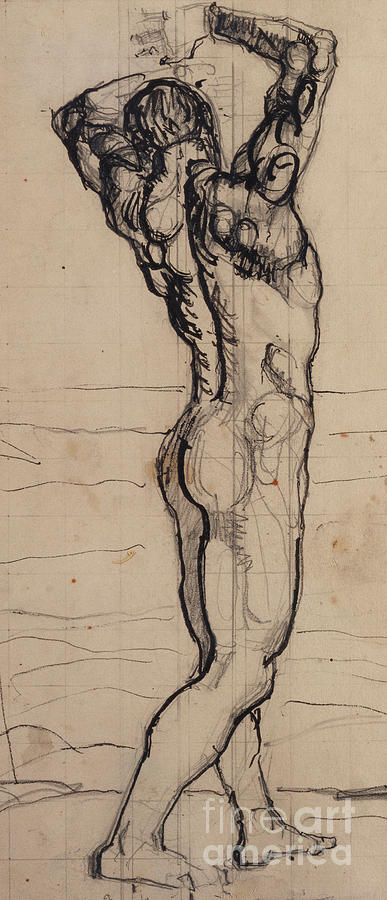 Drawing; Nude; Back View; Stretching; Standing; Full Length; Symbolist; Pen Drawing - Male Act   Study For The Truth by Ferdninand Hodler