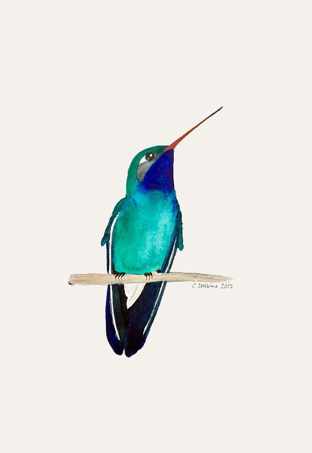 Hummingbird Painting - Male Broad-billed Hummingbird by Christiane Dobbins