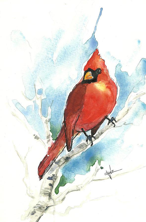 Cardinal Painting - Male Cardinal by Christine Camp