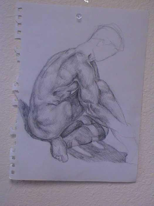 Male Figure Pose Drawing by Neil Grotzinger