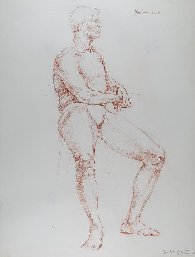 Male Figure, Sitting On Tall Seat, Leaning On Left Elbow, Student Work. Drawing