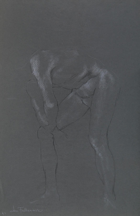 Male Leaning On Right Knee. Student Work. Drawing