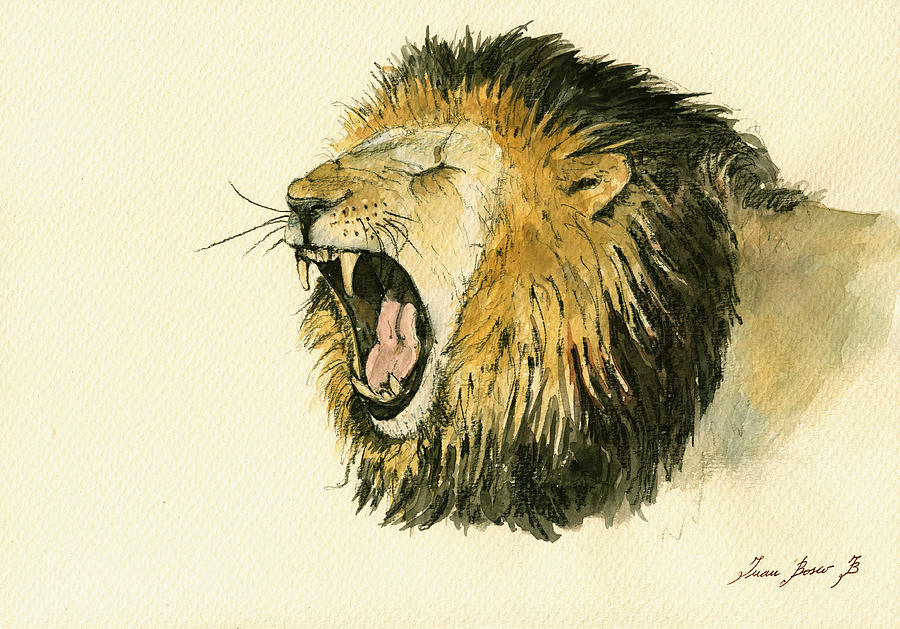 Male Lion Head Painting Painting by Juan Bosco