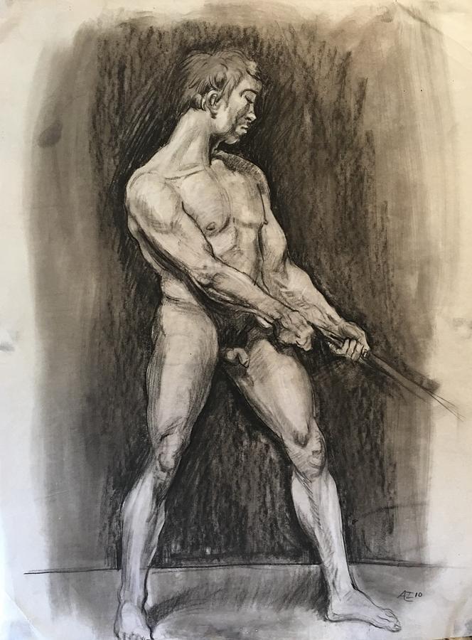 Male Nud Drawing by Alejandro Lopez-Tasso