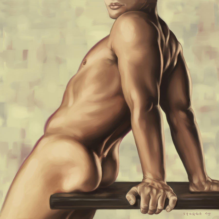 Male Painting - Male Nude 2 by Simon Sturge
