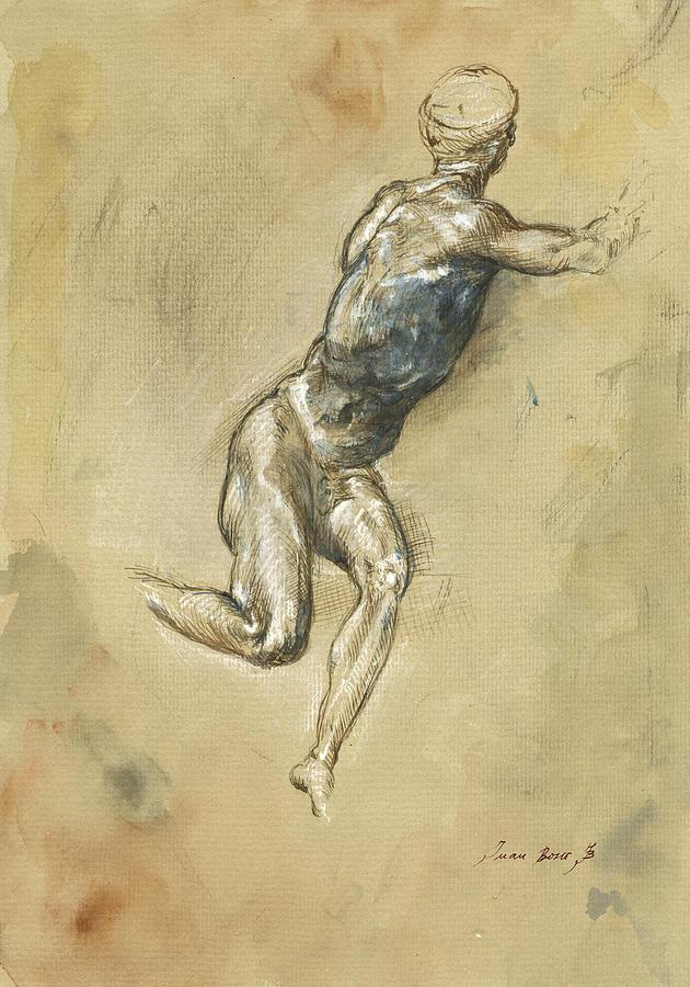Male Nude Painting - Male nude figure by Juan Bosco
