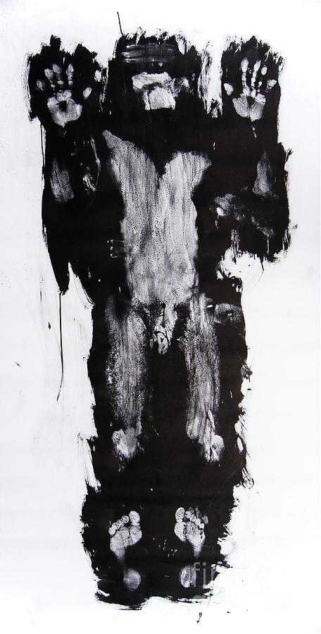 Male Mixed Media - Male Nude Front by Erwin Bruegger