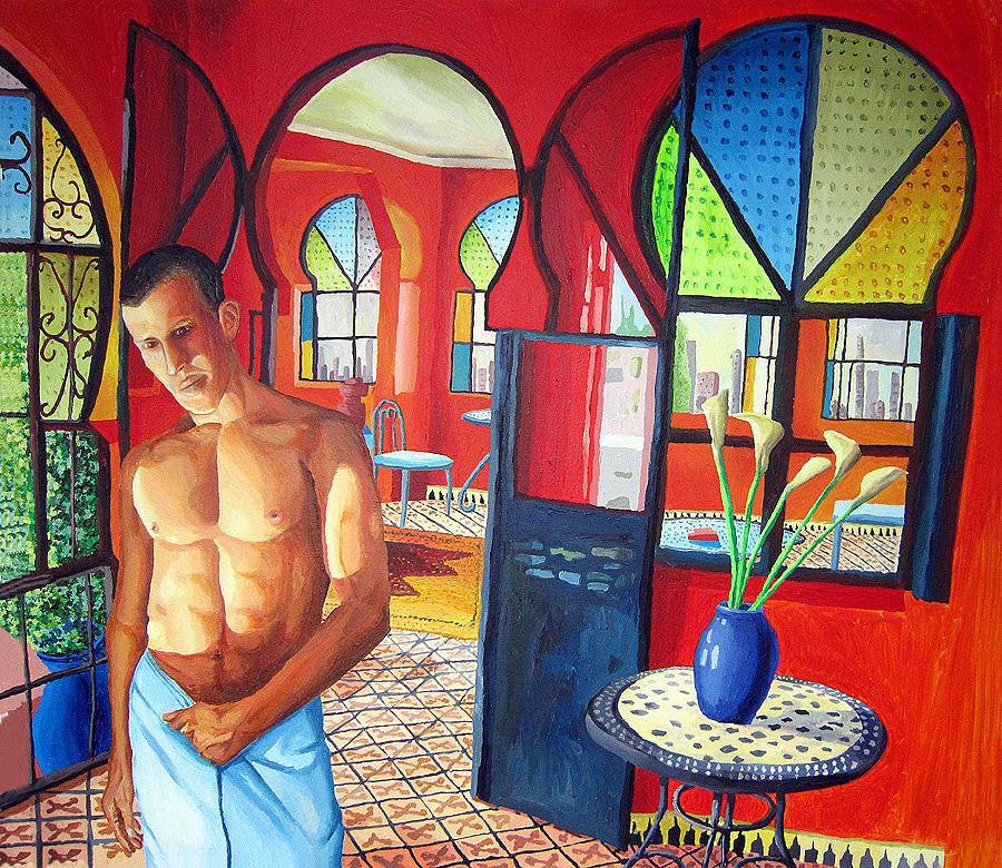 Print original art work watercolor painting gay male nude