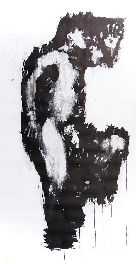 Male Mixed Media - Male Nude Side by Erwin Bruegger