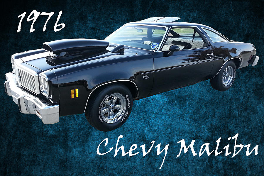 1976 Chevy Malibu Modified Muscle Car On Blue Texture Photograph by ...
