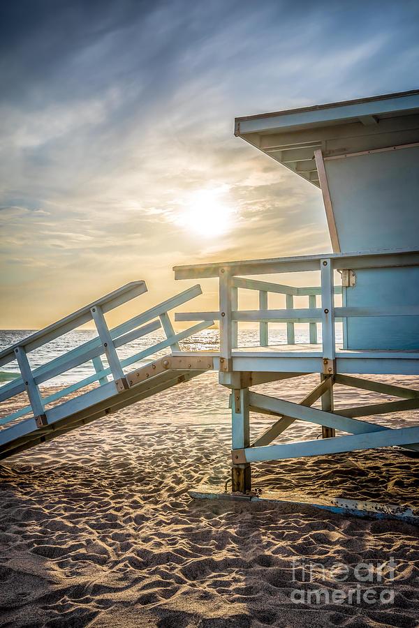 Malibu Lifeguard Tower #3 Sunset on Zuma Beach  by Paul Velgos