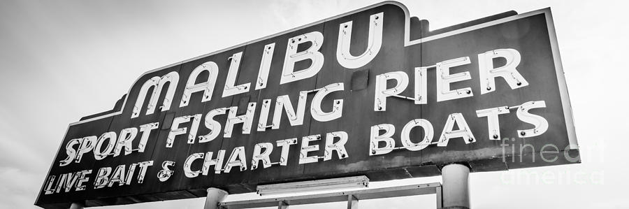 Malibu Pier Sign Panoramic Black And White Photo Photograph