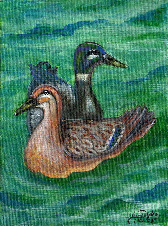 Folkartanna Painting - Mallard Ducks by Anna Folkartanna Maciejewska-Dyba