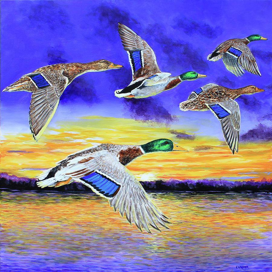 Mallards Early Morning Flight by Karl Wagner