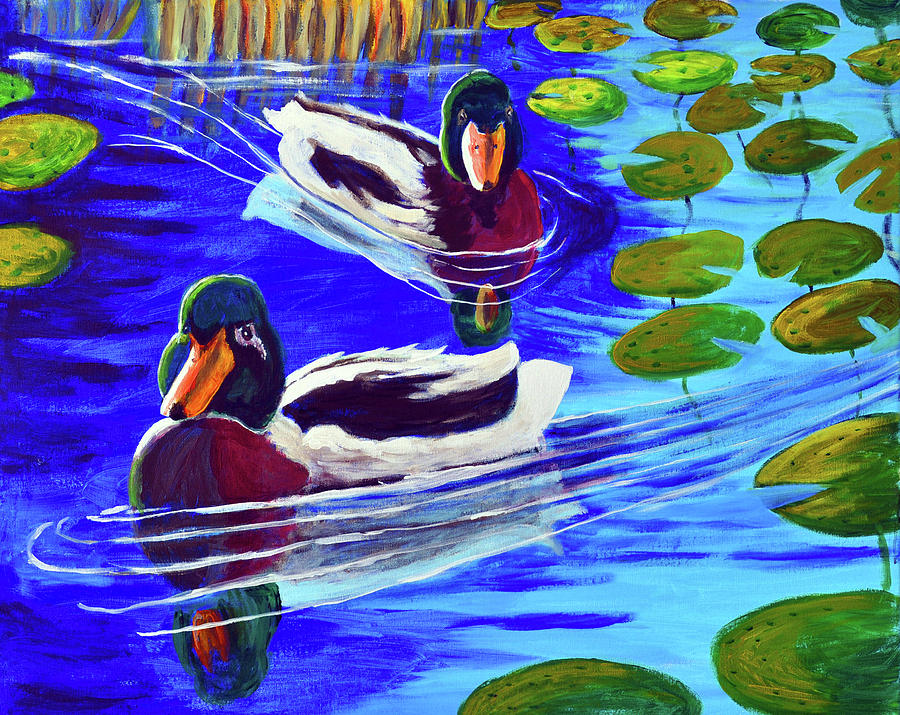 Mallards Painting - Mallards In The Pads by Bob Crawford